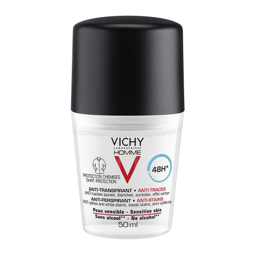 Vichy Homme Déodorant Anti-Transpirant 48H Anti-Traces Roll-On 50 ml