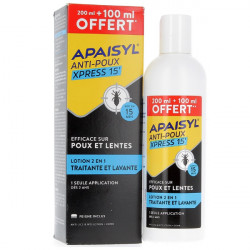 Apaisyl Anti-Poux Xpress 15' Lotion 2en1 200 ml + 100 ml Offert