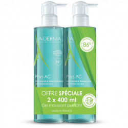 ADERMA PHYS-AC GEL MOUSSANT PURIFIANT LOT DE 2 X 400 ML